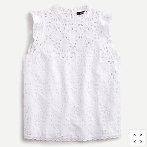 J.Crew White Embroidered Eyelet Top